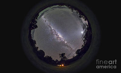 Fish-eye Panorama Of The Southern Night Art Print by Alan Dyer