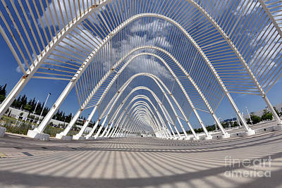 Photograph - Fish Eye View Of Archway In Olympic Stadium In Athens by George Atsametakis
