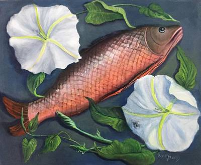 Painting - Fish, Fly And Flower  Pescado, Mosca Y Flor by Randol Burns