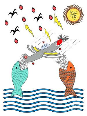 Fish Food Art Print by Methune Hively