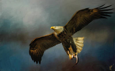 Painting - Fish For Lunch Bald Eagle Art by Jai Johnson