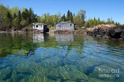 Photograph - Fish House Reflections On Lake Superior by Sandra Updyke