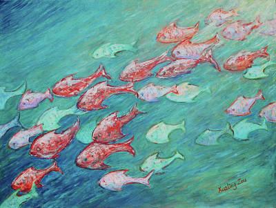 Painting - Fish In Abundance by Xueling Zou