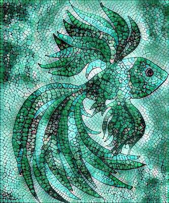 Digital Art - Fish In Aqua Mosaic 3 by Megan Walsh