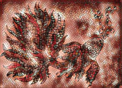 Digital Art - Fish In Cinnamon Mosaic 1 by Megan Walsh