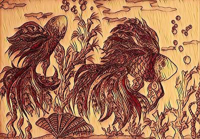 Digital Art - Fish In Fall Colors by Megan Walsh