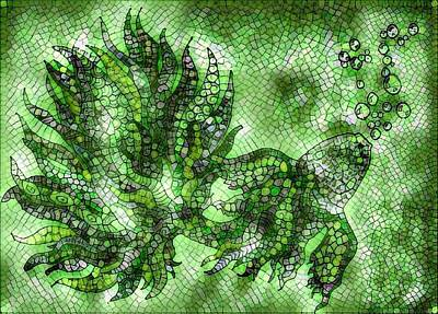 Digital Art - Fish In Green Mosaic 2 by Megan Walsh