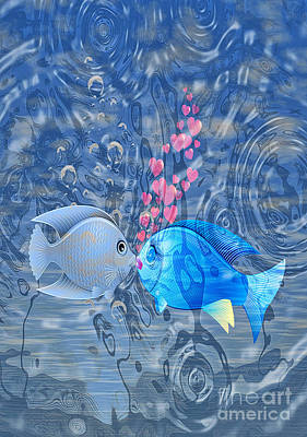 Digital Art - Fish In Love by Eleni Mac Synodinos