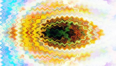 Burnt Digital Art - Fish In Ripples by Chellie Bock