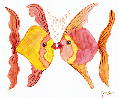 Painting - Fish Love by Julia Stubbe