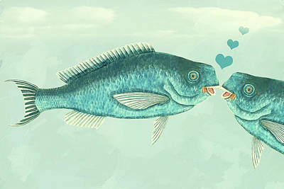 Fish Love Whimsical Wall Art Art Print