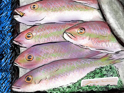 Art Print featuring the digital art Fish Market by Jean Pacheco Ravinski