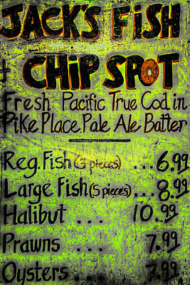 Photograph - Jack's Fish Chip Spot Menu by Spencer McDonald