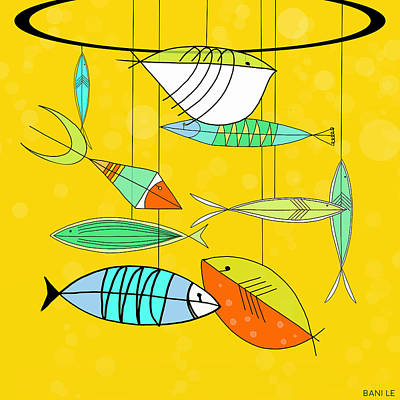Fish Mobile Art Print by Little Bunny Sunshine