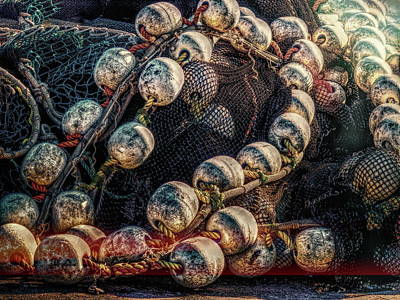 Landscape Photograph - Fish Net And Buoys by Bob Orsillo