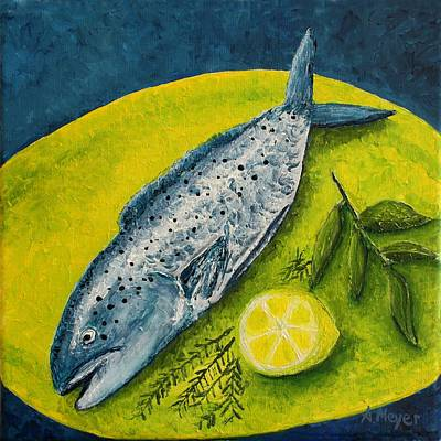 Lemon Painting - Fish On A Plate by Andrea Meyer