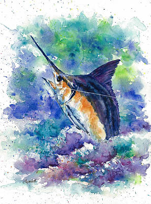 Sportfish Boat Painting - Fish On by Barb Capeletti