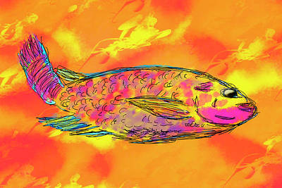 Fish On Orange Art Print by Skip Nall