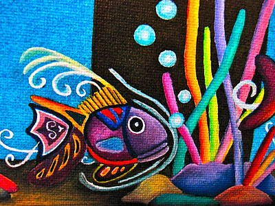 Art Print featuring the painting Fish On Parade by Lori Miller