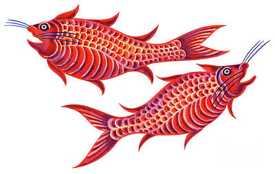 Fishy Painting - Fish Pisces by Jane Tattersfield