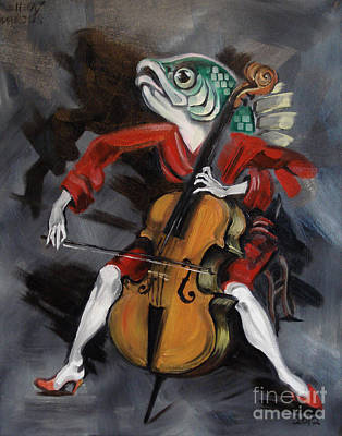 Fish Playing Cello Print by Ellen Marcus