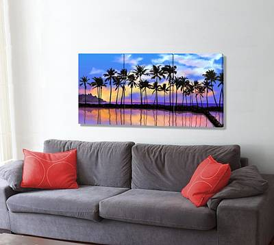 Hawaiian Fish Digital Art - Fish Pond Sunset On The Wall by Stephen Jorgensen