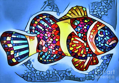 Digital Art - Fish Print #6 by Nina Silver