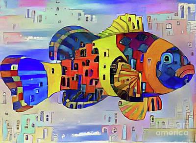 Digital Art - Fish Print Five by Nina Silver