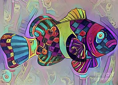 Digital Art - Fish Print Four by Nina Silver