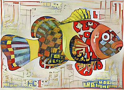 Digital Art - Fish Print Three by Nina Silver