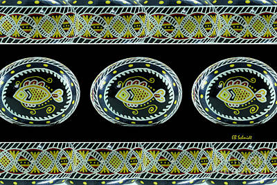 Fish Pysanky Black Art Print