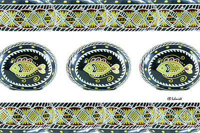 Fish Pysanky White Art Print