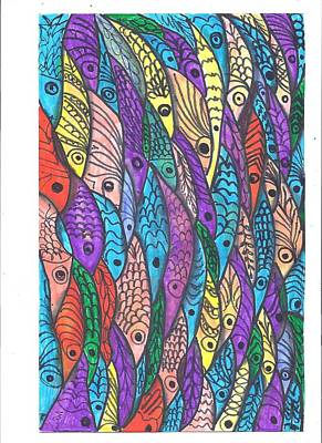 Mixed Media - Fish School One by Wayne Potrafka