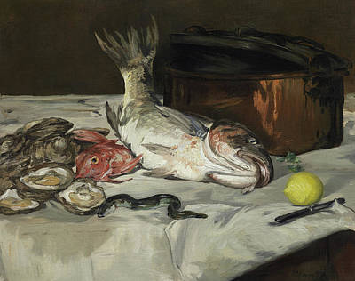 Fish Still Life Art Print by Edouard Manet