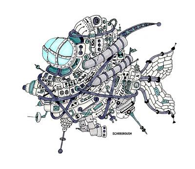 Steampunk Drawings - Fish Submarine by Larry Scarborough
