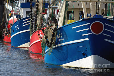 Photograph - Fish Trawlers Moored In Harbour by Jan Brons