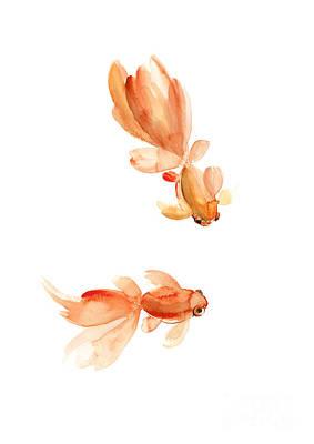 Horoscope Sign Painting - Goldfish, Fish Watercolor Art Print Pisces Sign Horoscope, Orange Home Decor by Joanna Szmerdt