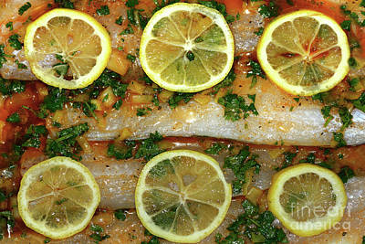 Still Life With Fish Photograph - Fish With Lemon And Coriander By Kaye Menner by Kaye Menner