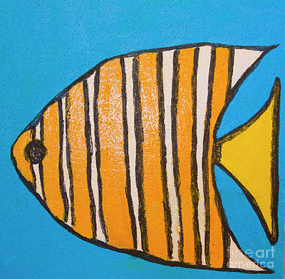 Painting - Fish With Orange Lines, Painting by Irina Afonskaya