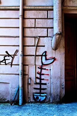 Fishbone Graffiti Print by Ferry Ten Brink