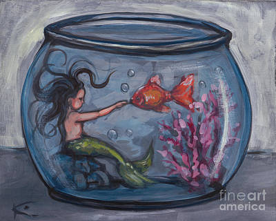 Whimsical Painting - Fishbowl Mermaid by Kim Marshall