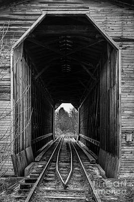 Photograph - Fisher Covered Railroad Bridge Black And White by Edward Fielding
