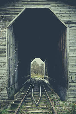 Photograph - Fisher Covered Railroad Bridge Wolcott Vermont by Edward Fielding