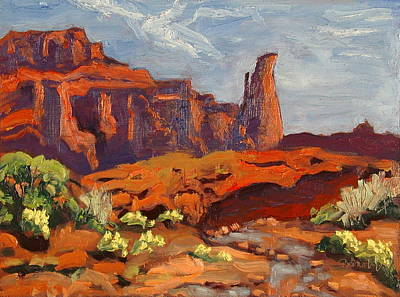 Painting - Fisher Tower From Onion Creek Castle Valley Moab Utah by Zanobia Shalks