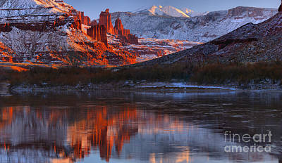 Print featuring the photograph Fisher Towers And La Sal Mountains by Adam Jewell