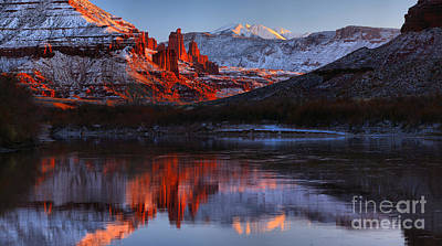 Moenkopi Sandstone Photograph - Fisher Towers Colorado River Reflections Panorama by Adam Jewell