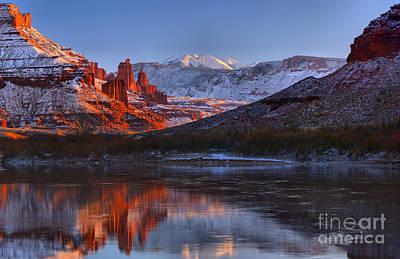 Print featuring the photograph Fisher Towers Glowing Reflections by Adam Jewell