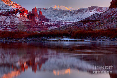 Print featuring the photograph Fisher Towers Landscape Glow by Adam Jewell