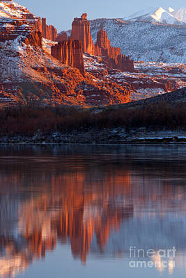 Moenkopi Sandstone Photograph - Fisher Towers Reflections In The Colorado by Adam Jewell