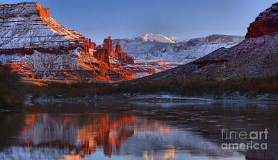 Print featuring the photograph Fisher Towers Sunset Glow Panorama by Adam Jewell
